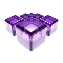 violet glass cubes isolated