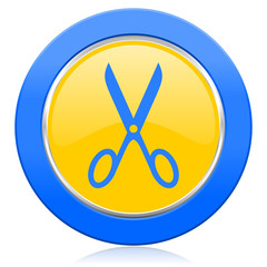 scissors blue yellow icon cut sign