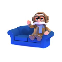 3d Pilot sits on a sofa