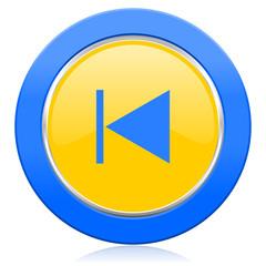 previous blue yellow icon