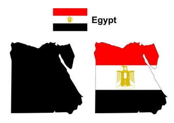 Egypt map vector, Egypt flag vector