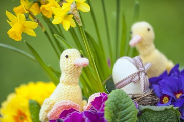 cute floral decoration with Easter egg