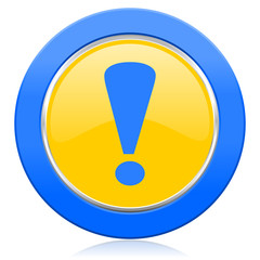 exclamation sign blue yellow icon warning sign
