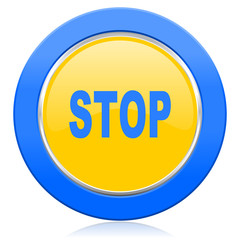 stop blue yellow icon