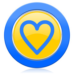 heart blue yellow icon love sign