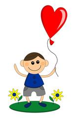 Happy boy holds balloon in heart shape