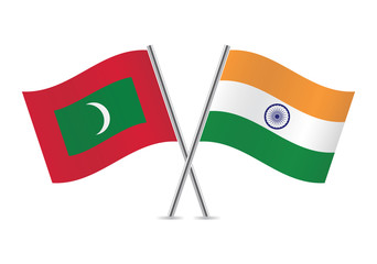 Indian and Maldives flags. Vector illustration.