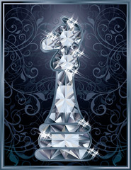 Diamond chess Knight card, vector illustration