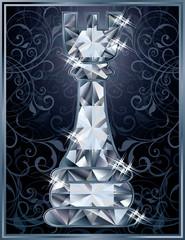 Diamond chess Rook card, vector illustration