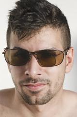 Closeup portrait of man with sunglasses