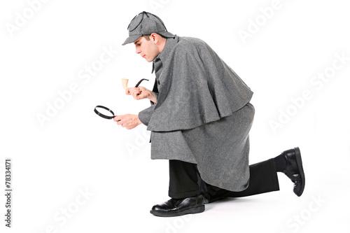 Poster Sherlock: Detective Using Magnifying Glass To Examine Something