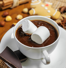Hot chocolate with marshmallows, gingerbread, cinnamon and nuts