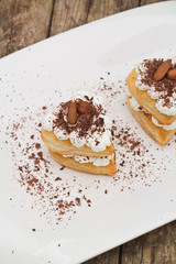 Puff pastry with chocolate and whipped cream