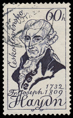 Stamp printed in Czechoslovakia shows Joseph Haydn