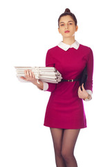 Elegant woman with files