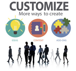 Customize Ideas Identity Innovation Personalize Concept