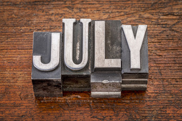 July month in metal type