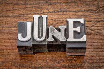 June month in metal type