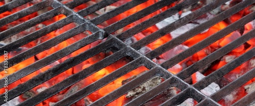 Empty BBQ Grill and Glowing Hot Coals - 78336387