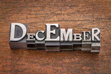December month in metal type