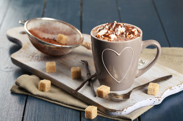 Cup of hot coffee with marshmallow