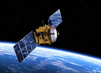 Communication Satellite Orbiting Earth