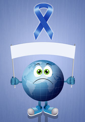 Blue ribbon with blue earth