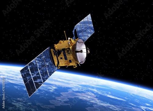 Foto op Plexiglas Ruimtelijk Communication Satellite Orbiting Earth