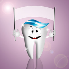 Funny tooth with sign