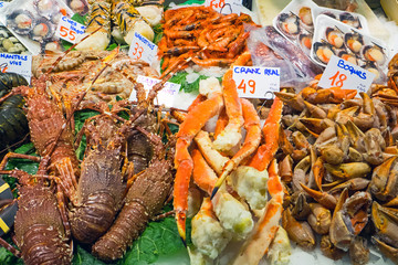 Shellfish for sale at the Boqueria market in Barcelona