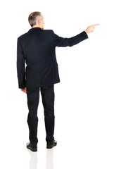 Full length back view businessman pointing right