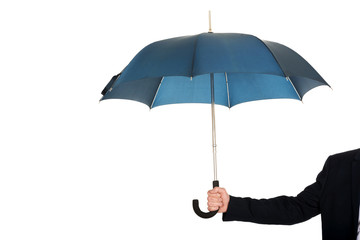 Close up on businessman hand with an umbrella
