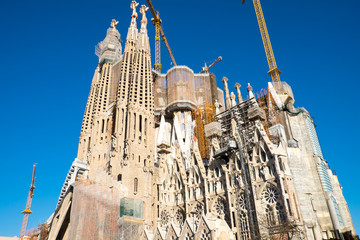 The Sagrada Familia construction site in Barcelona, Spain