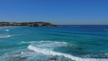 Panning shot of Bondi Beach, Sydney