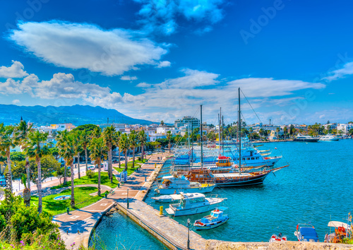 Foto Spatwand Mediterraans Europa The main port of Kos island in Greece. HDR processed