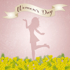 Women's Day background with mimosa flowers
