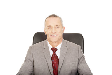 Smiling mature businessman sitting on armchair