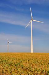 Deux éoliennes dans un champ avec un ciel bleu