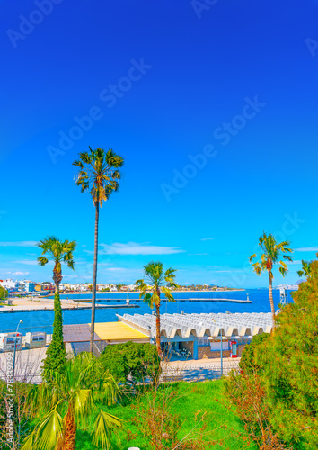 Leinwanddruck Bild View from the fortress of Saint John in Kos island in Greece
