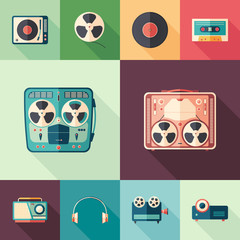 Set of retro media flat square icons with long shadows.