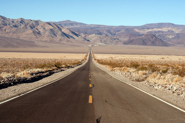 Long Desert Two Lane Highway Death Valley California