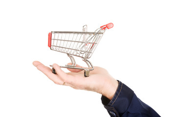 Male hand with shopping basket