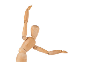 Manikin figure make a sign with her arms isolated on white