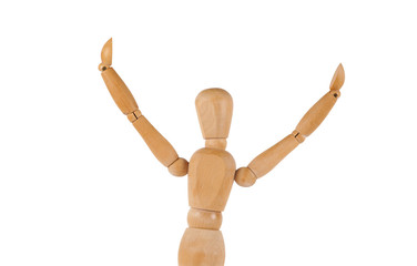 Manikin figure holds arms up in the air isolated on white