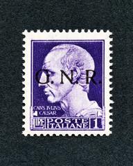 1943 Italy stamp:1 Lira overprint GNR