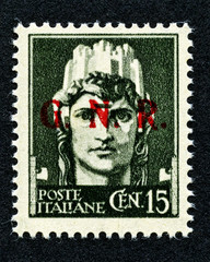 1943 Italy stamp: 15 Cent. overprint GNR