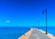Leinwanddruck Bild pier becide the main port of Kos island in Greece