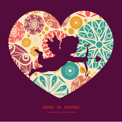 Vector abstract decorative circles shooting cupid silhouette