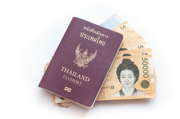 Thai passport with Korea Won currency bank notes