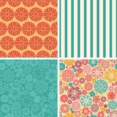 Vector abstract decorative circles set of four marching repeat